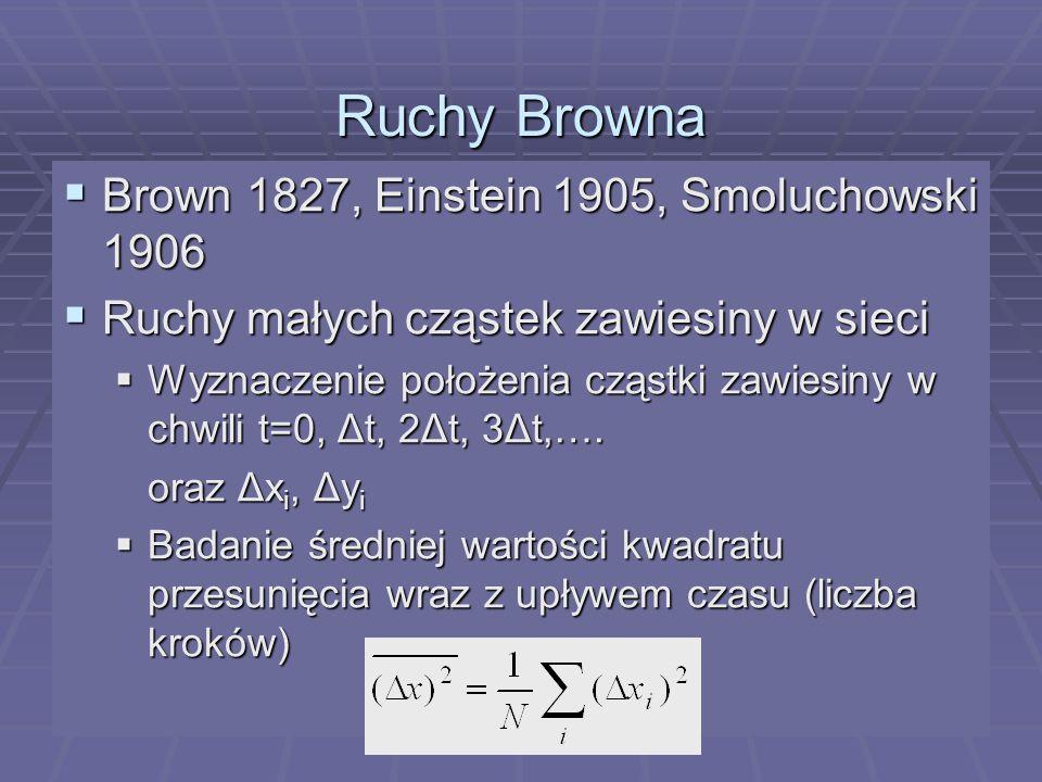 Ruchy Browna Brown 1827, Einstein 1905, Smoluchowski 1906 Brown 1827, Einstein 1905, Smoluchowski 1906 Ruchy małych cząstek zawiesiny w sieci Ruchy ma