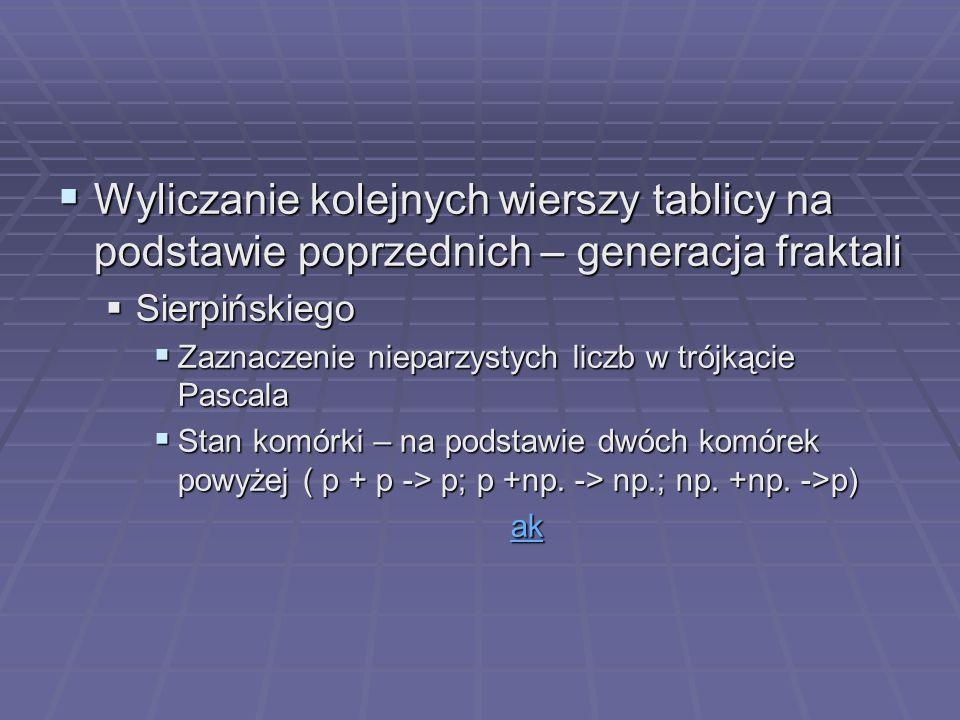 Wyliczanie kolejnych wierszy tablicy na podstawie poprzednich – generacja fraktali Wyliczanie kolejnych wierszy tablicy na podstawie poprzednich – gen