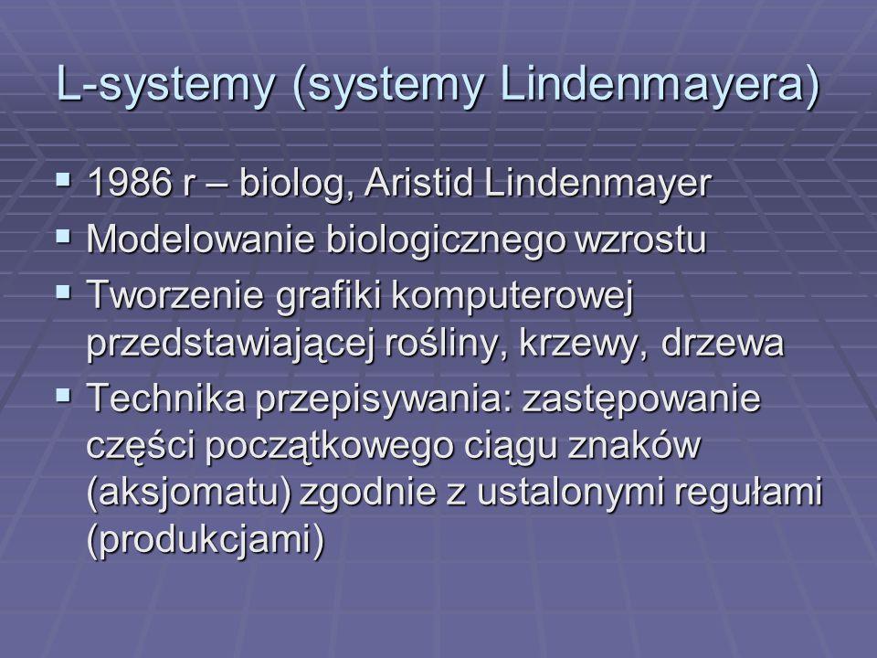 L-systemy (systemy Lindenmayera) 1986 r – biolog, Aristid Lindenmayer 1986 r – biolog, Aristid Lindenmayer Modelowanie biologicznego wzrostu Modelowan