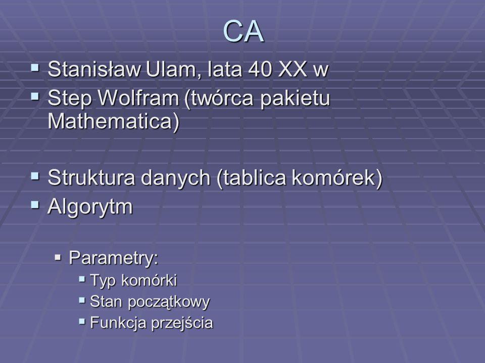 CA Stanisław Ulam, lata 40 XX w Stanisław Ulam, lata 40 XX w Step Wolfram (twórca pakietu Mathematica) Step Wolfram (twórca pakietu Mathematica) Struk