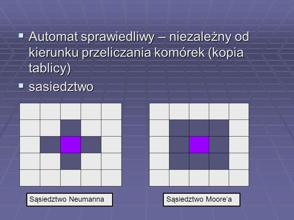 Mrówka Langtona Langtons Ant Langtons Ant Pamiętane parametry: Pamiętane parametry: Bieżąca pozycja (x, y) Bieżąca pozycja (x, y) Kierunek ( 1 z 8 lub 1 z 4 ) Kierunek ( 1 z 8 lub 1 z 4 ) W każdej iteracji przeliczana jedna komórka W każdej iteracji przeliczana jedna komórka Modyfikacja komórki (P(x,y)=T/F) Modyfikacja komórki (P(x,y)=T/F) Modyfikacja kierunku Modyfikacja kierunku przesunięcie o jedno pole przesunięcie o jedno pole Np.: Np.: if (P(x,y)) zmień kierunek o 90 0 w lewo; else zmień kierunek o 90 0 w prawo; P(x,y)=~P(x,y); Move (o 1 pole w zadanym kierunku) Po 100 000 kroków – tablica nieuporządkowana Po 100 000 kroków – tablica nieuporządkowana ak