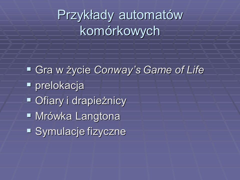 Przykłady automatów komórkowych Gra w życie Conways Game of Life Gra w życie Conways Game of Life prelokacja prelokacja Ofiary i drapieżnicy Ofiary i