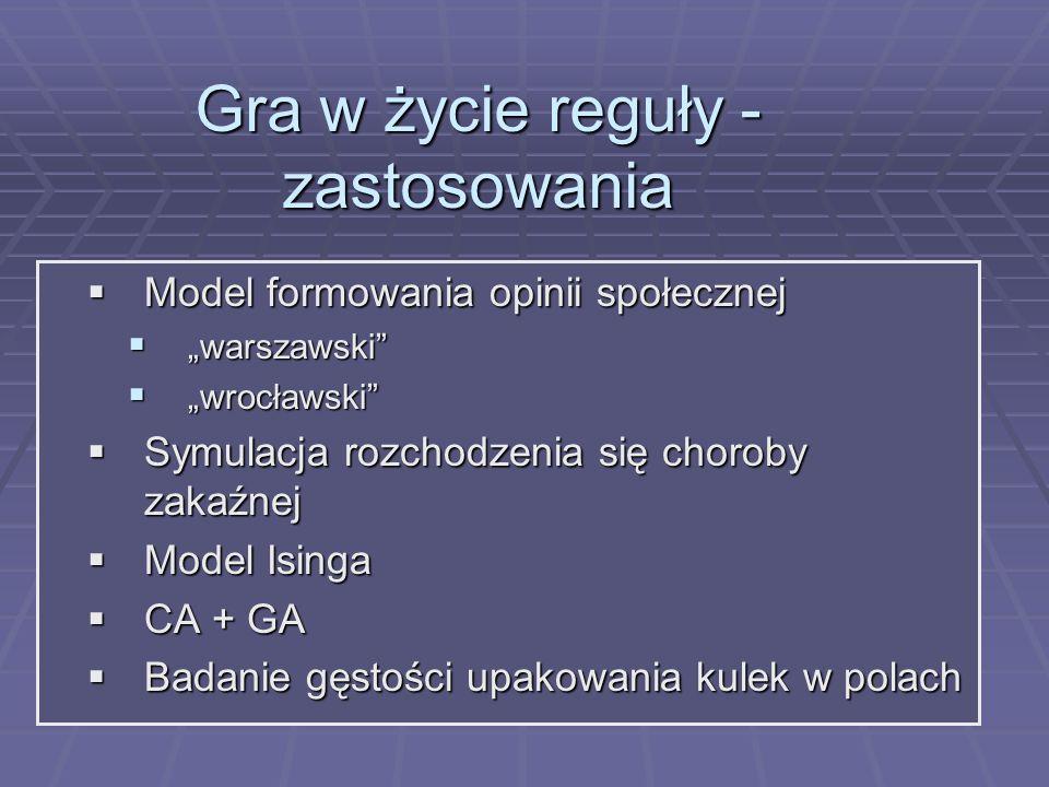 Gra w życie reguły - zastosowania Model formowania opinii społecznej Model formowania opinii społecznej warszawski warszawski wrocławski wrocławski Sy