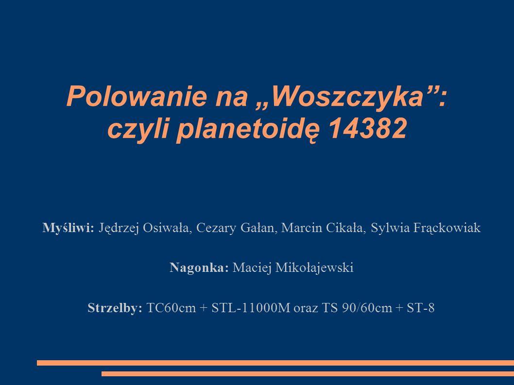 Polowanie na Woszczyka: czyli planetoidę 14382 Myśliwi: Jędrzej Osiwała, Cezary Gałan, Marcin Cikała, Sylwia Frąckowiak Nagonka: Maciej Mikołajewski S