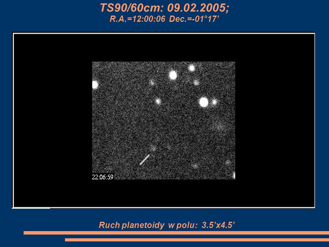 TS90/60cm: 09.02.2005; R.A.=12:00:06 Dec.=-01°17 Ruch planetoidy w polu: 3.5x4.5