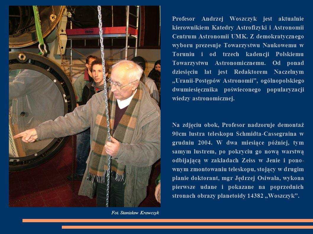 Profesor Andrzej Woszczyk jest aktualnie kierownikiem Katedry Astrofizyki i Astronomii Centrum Astronomii UMK. Z demokratycznego wyboru prezesuje Towa
