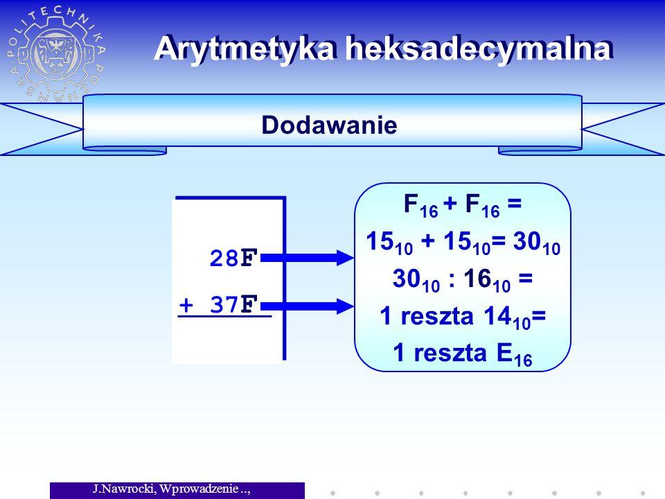 J.Nawrocki, Wprowadzenie.., Wykład 5 Arytmetyka heksadecymalna Dodawanie 28 F + 37 F 28 F + 37 F F 16 + F 16 = 15 10 + 15 10 = 30 10 30 10 : 16 10 = 1 reszta 14 10 = 1 reszta E 16