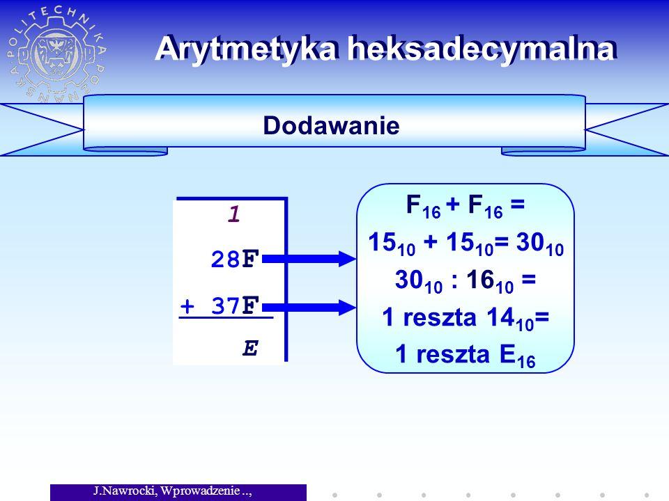 J.Nawrocki, Wprowadzenie.., Wykład 5 Arytmetyka heksadecymalna Dodawanie 1 28 F + 37 F E 1 28 F + 37 F E F 16 + F 16 = 15 10 + 15 10 = 30 10 30 10 : 16 10 = 1 reszta 14 10 = 1 reszta E 16