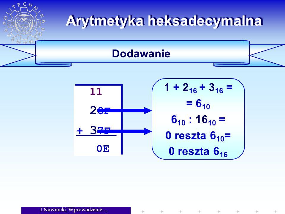 J.Nawrocki, Wprowadzenie.., Wykład 5 Arytmetyka heksadecymalna Dodawanie 11 2 8F + 3 7F 0E 11 2 8F + 3 7F 0E 1 + 2 16 + 3 16 = = 6 10 6 10 : 16 10 = 0 reszta 6 10 = 0 reszta 6 16