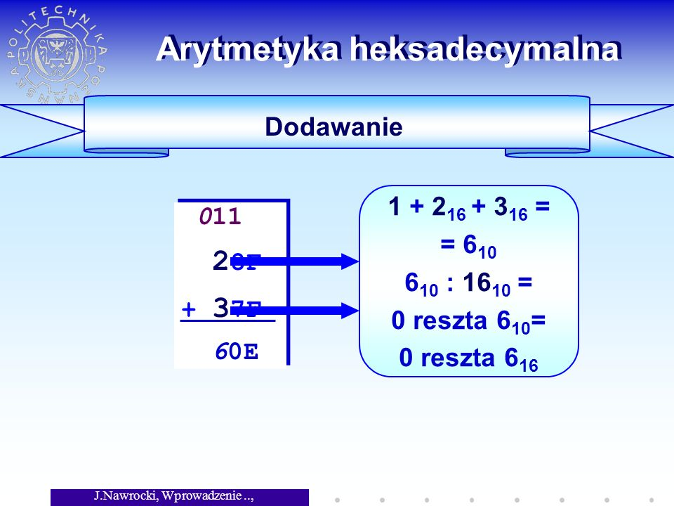 J.Nawrocki, Wprowadzenie.., Wykład 5 Arytmetyka heksadecymalna Dodawanie 011 2 8F + 3 7F 60E 011 2 8F + 3 7F 60E 1 + 2 16 + 3 16 = = 6 10 6 10 : 16 10 = 0 reszta 6 10 = 0 reszta 6 16