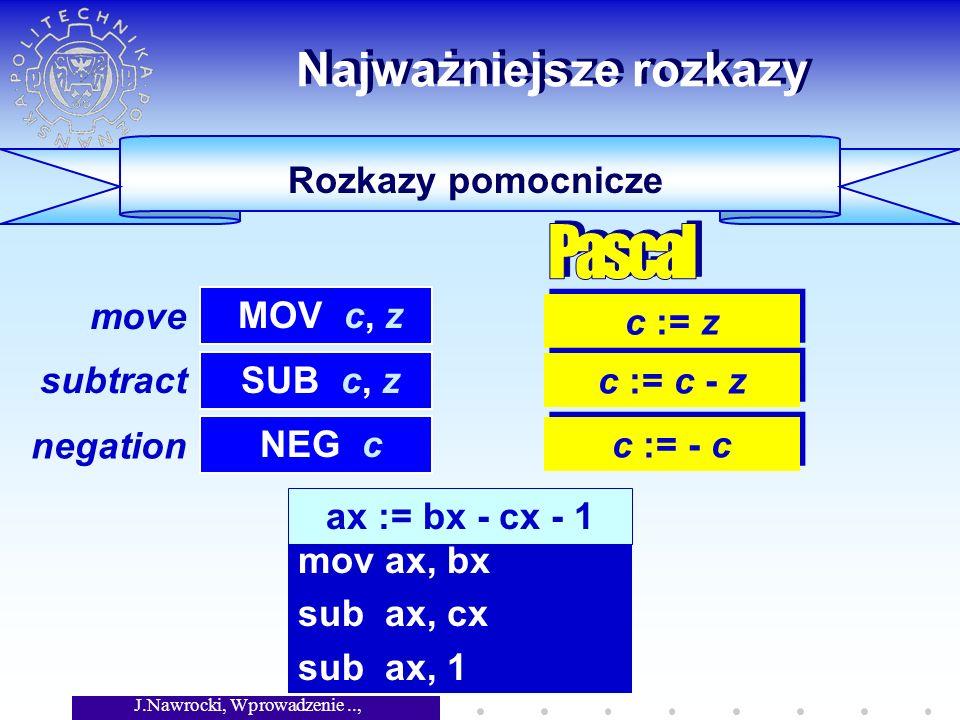 J.Nawrocki, Wprowadzenie.., Wykład 5 Rozkazy pomocnicze Najważniejsze rozkazy c := z MOV c, z SUB c, z c := c - z NEG c c := - c ax := bx - cx - 1 mov ax, bx sub ax, cx sub ax, 1 move subtract negation