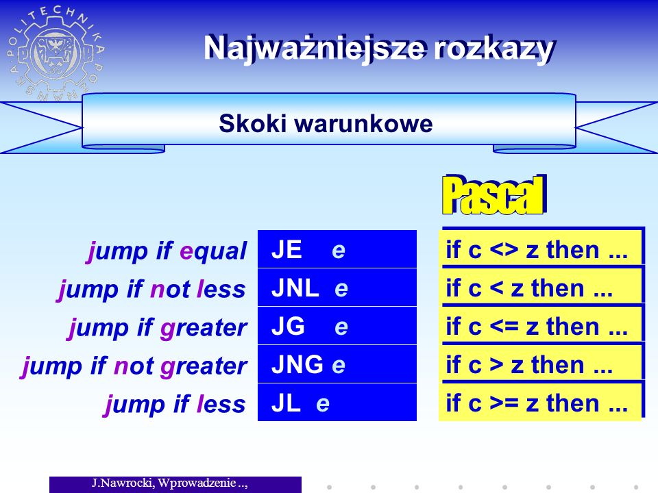 J.Nawrocki, Wprowadzenie.., Wykład 5 Skoki warunkowe Najważniejsze rozkazy JE e jump if equal if c <> z then...
