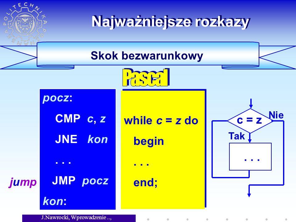J.Nawrocki, Wprowadzenie.., Wykład 5 Skok bezwarunkowy Najważniejsze rozkazy while c = z do begin...