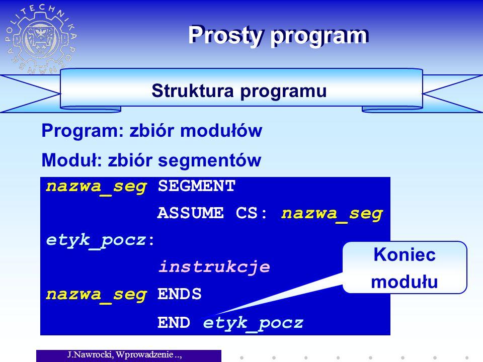 J.Nawrocki, Wprowadzenie.., Wykład 5 Prosty program Struktura programu nazwa_seg SEGMENT ASSUME CS: nazwa_seg etyk_pocz: instrukcje nazwa_seg ENDS END etyk_pocz Program: zbiór modułów Moduł: zbiór segmentów Koniec modułu