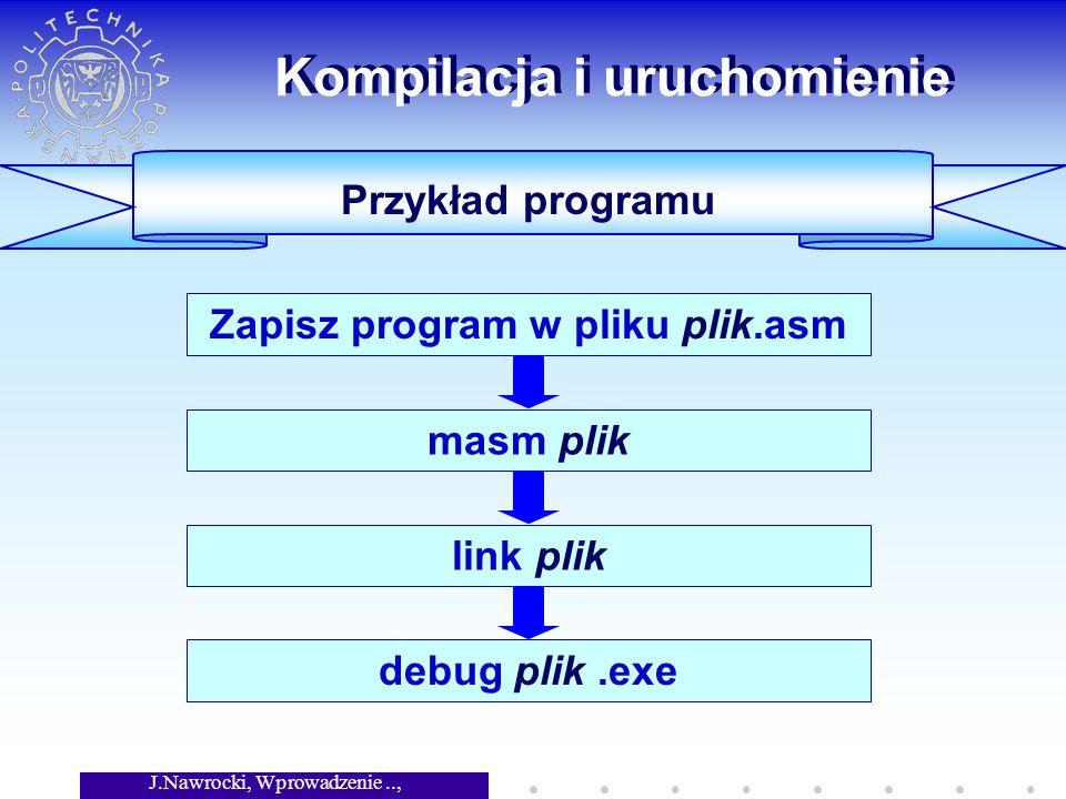 J.Nawrocki, Wprowadzenie.., Wykład 5 Kompilacja i uruchomienie Przykład programu Zapisz program w pliku plik.asm masm pliklink plik debug plik.exe