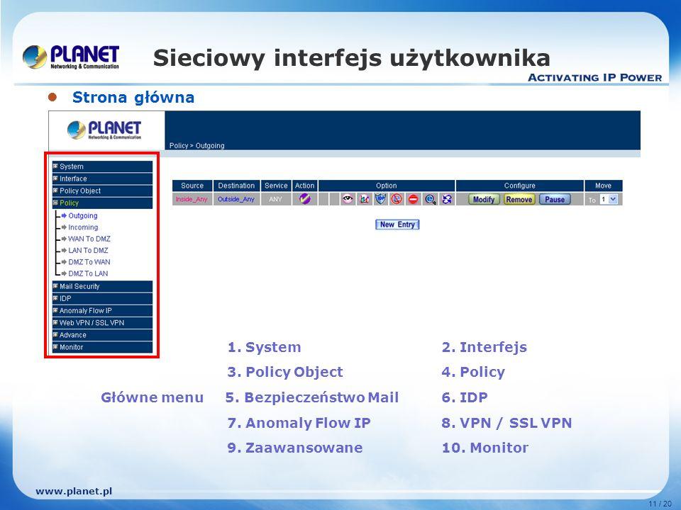 www.planet.pl 11 / 20 Sieciowy interfejs użytkownika Strona główna 1.