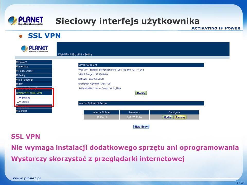 www.planet.pl 13 / 20 Sieciowy interfejs użytkownika SSL VPN SSL VPN Nie wymaga instalacji dodatkowego sprzętu ani oprogramowania Wystarczy skorzystać z przeglądarki internetowej