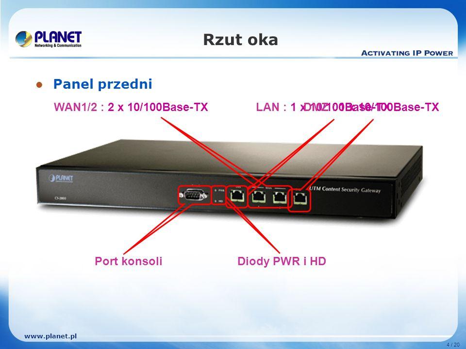 www.planet.pl 4 / 20 Rzut oka Panel przedni WAN1/2 : 2 x 10/100Base-TXLAN : 1 x 10/100Base-TXDMZ : 1 x 10/100Base-TX Port konsoliDiody PWR i HD
