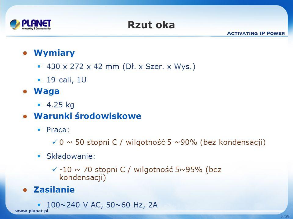 www.planet.pl 5 / 20 Rzut oka Wymiary 430 x 272 x 42 mm (Dł.