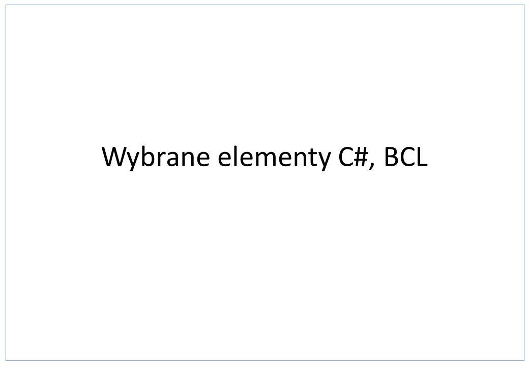 System.Collections - przykład ArrayList using System; using System.Collections; namespace Kolekcje { class Element { public int Liczba; public Element(int liczba) { this.Liczba = liczba; } class Program { static void Main(string[] args) { Element element_1 = new Element(10); Element element_2 = new Element(20); ArrayList lista = new ArrayList(); lista.Add(element_1); lista.Add(element_2); Console.Write( Elementy: ); foreach (Element element in lista) { Console.Write(element.Liczba + ); } Console.ReadKey(); }