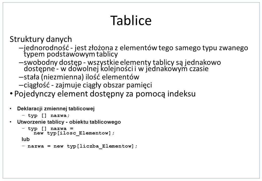 Tablice Struktury danych – jednorodność - jest złożona z elementów tego samego typu zwanego typem podstawowym tablicy – swobodny dostęp - wszystkie el