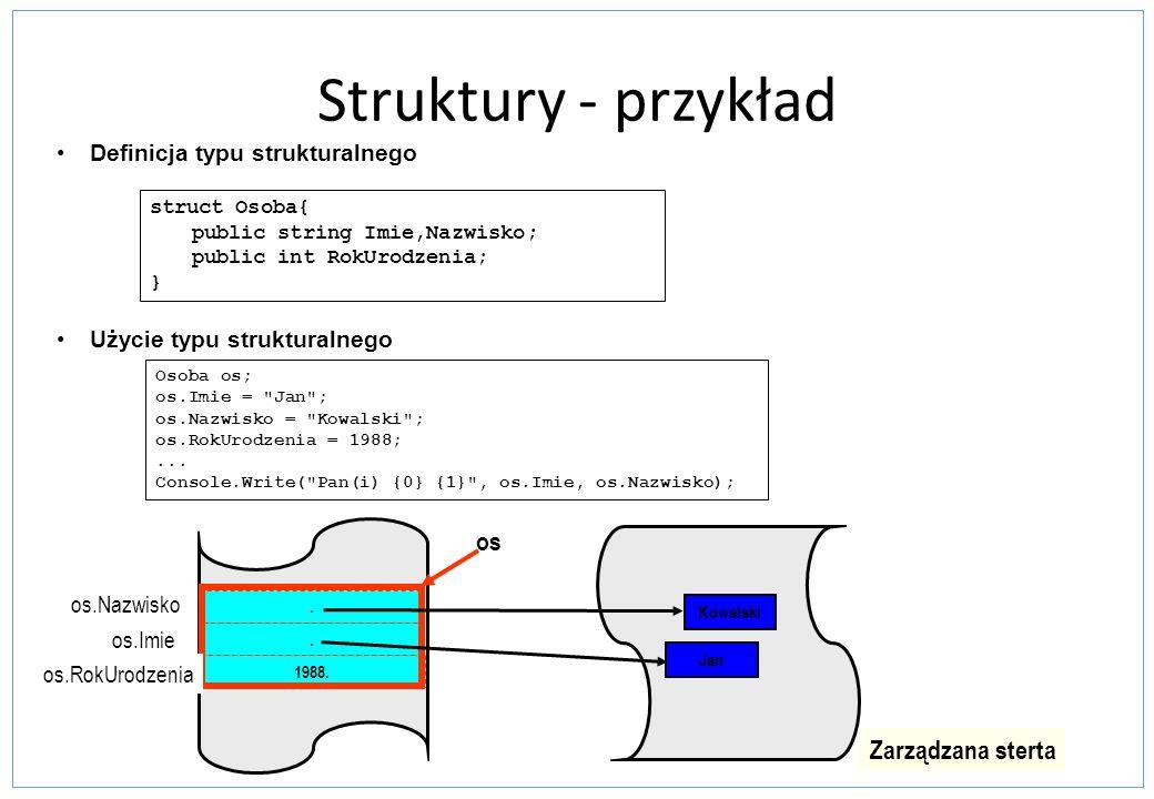 Struktury - przykład Definicja typu strukturalnego Użycie typu strukturalnego struct Osoba{ public string Imie,Nazwisko; public int RokUrodzenia; } Os