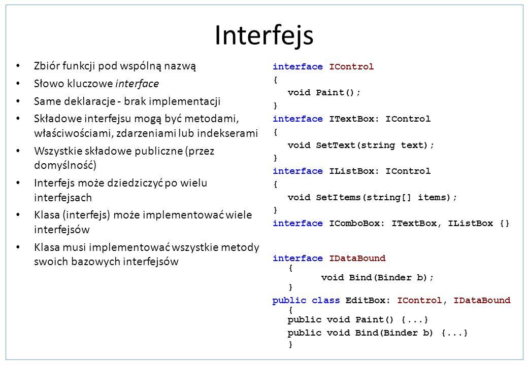 Interfejs Zbiór funkcji pod wspólną nazwą Słowo kluczowe interface Same deklaracje - brak implementacji Składowe interfejsu mogą być metodami, właściw