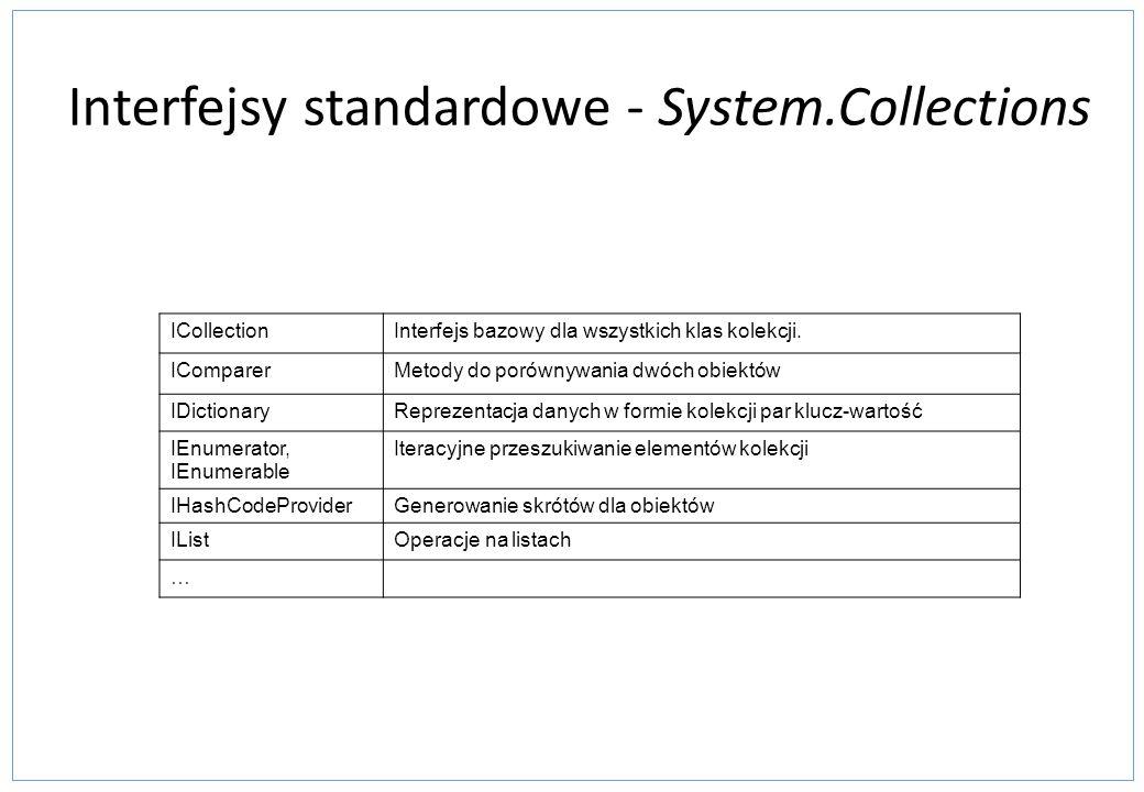 Interfejsy standardowe - System.Collections ICollectionInterfejs bazowy dla wszystkich klas kolekcji. IComparerMetody do porównywania dwóch obiektów I