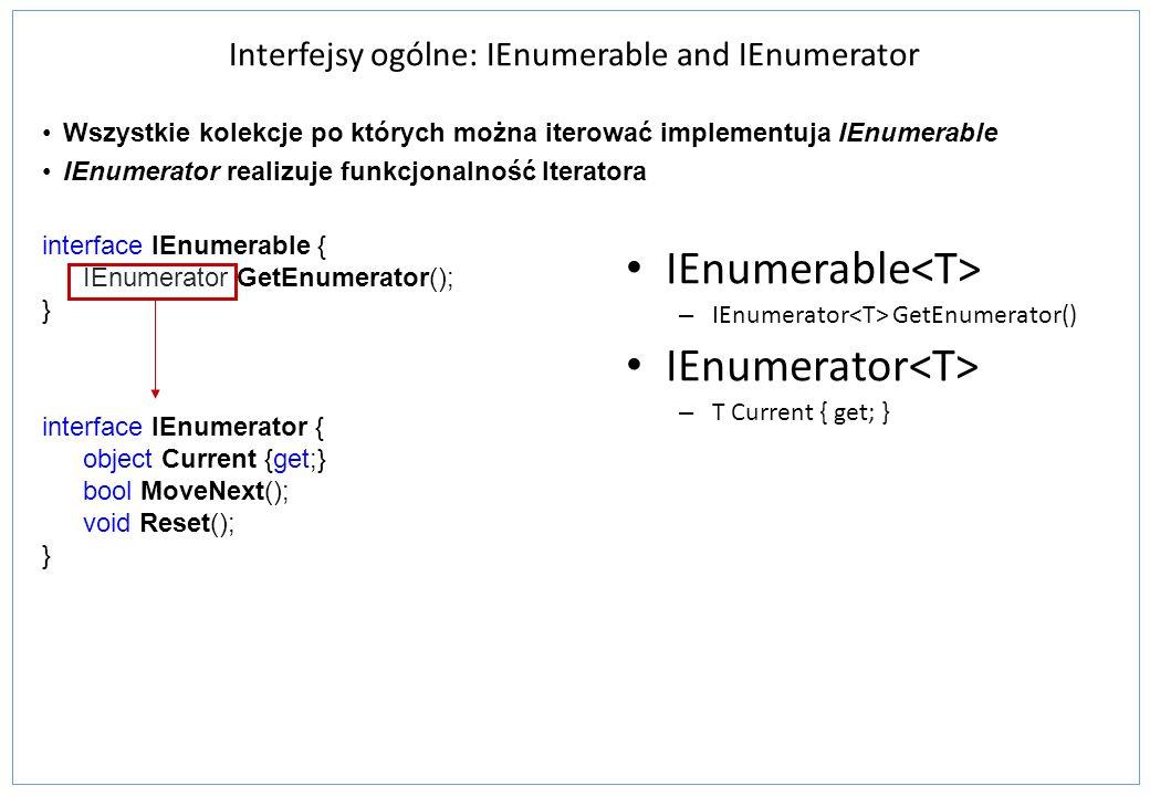 Interfejsy ogólne: IEnumerable and IEnumerator IEnumerable – IEnumerator GetEnumerator() IEnumerator – T Current { get; } Wszystkie kolekcje po któryc