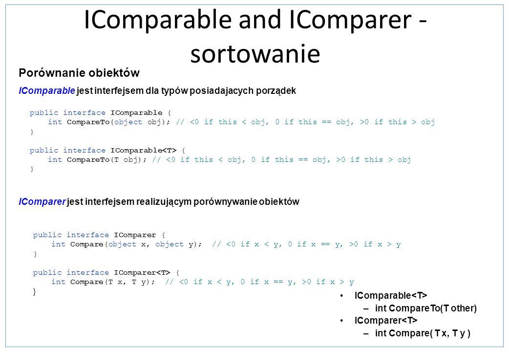 IComparable and IComparer - sortowanie IComparable jest interfejsem dla typów posiadajacych porządek public interface IComparable { int CompareTo(obje