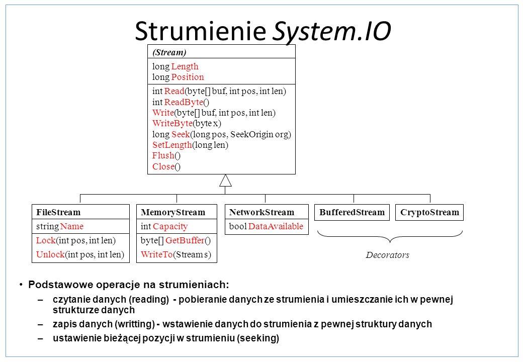 Strumienie System.IO (Stream) long Length long Position int Read(byte[] buf, int pos, int len) int ReadByte() Write(byte[] buf, int pos, int len) Writ