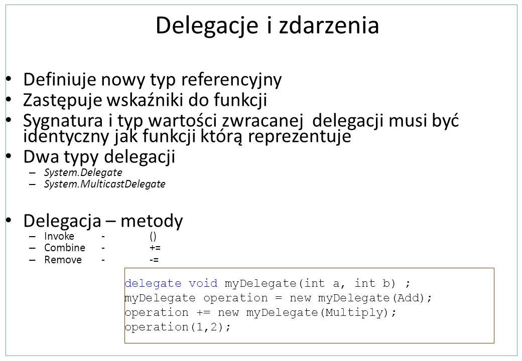 Delegacje i zdarzenia Definiuje nowy typ referencyjny Zastępuje wskaźniki do funkcji Sygnatura i typ wartości zwracanej delegacji musi być identyczny
