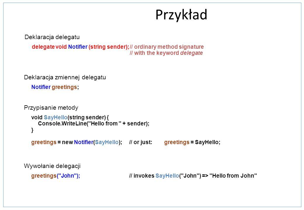 Przykład Deklaracja delegatu delegate void Notifier (string sender);// ordinary method signature // with the keyword delegate Wywołanie delegacji gree