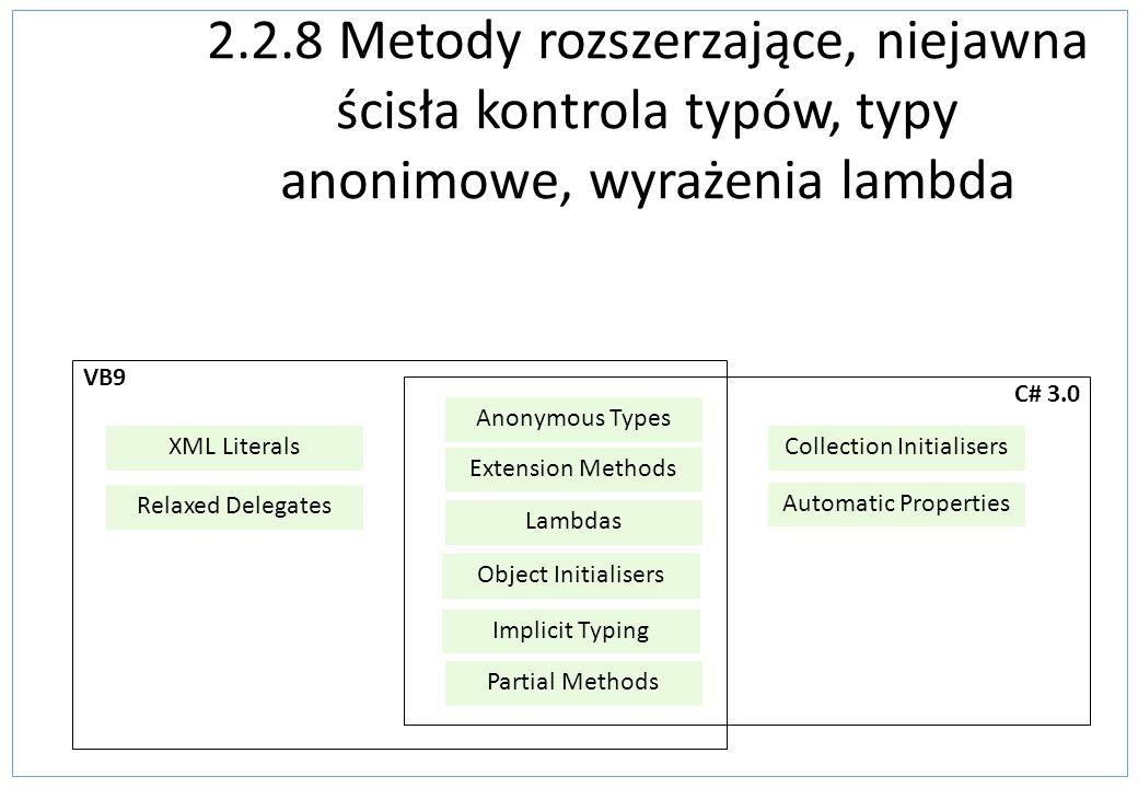 2.2.8 Metody rozszerzające, niejawna ścisła kontrola typów, typy anonimowe, wyrażenia lambda VB9 XML Literals Relaxed Delegates C# 3.0 Extension Metho