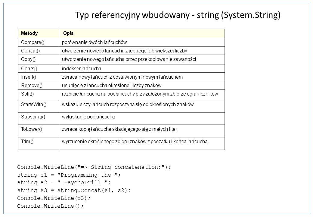 Stałe łańcuchowe - obsługa znaków specjalnych string rst1 = Hi there! ; string vst1 = @ Hi there! ; string rst2 = It started, \ Four score and seven...\ ; string vst2 = @ It started, Four score and seven... ; string rst3 = Value 1 \t 5, Val2 \t 10 ; // Interprets tab esc sequence string vst3 = @ Value 1 \t 5, Val2 \t 10 ; // Does not interpret tab string rst4 = C:\\Program Files\\Microsoft\\ ; string vst4 = @ C:\Program Files\Microsoft\ ; string rst5 = Print \x000A Multiple \u000A Lines ; string vst5 = @ Print Multiple Lines ; Łańcuchy standardowe i dosłowne