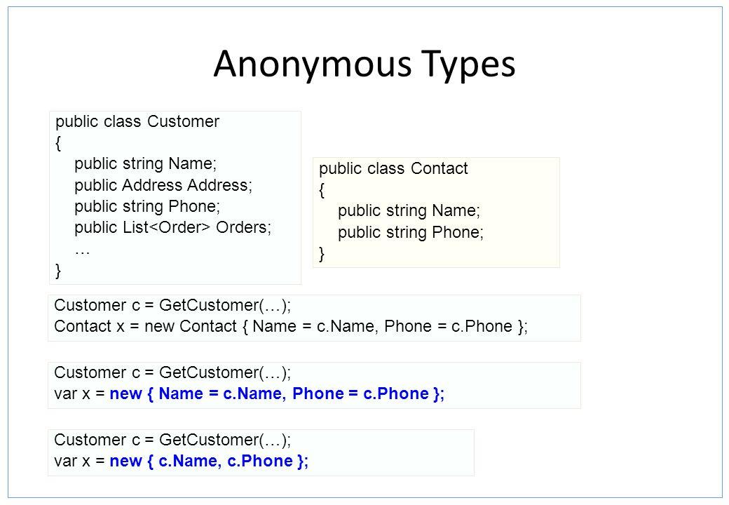 Anonymous Types public class Customer { public string Name; public Address Address; public string Phone; public List Orders; … } public class Contact