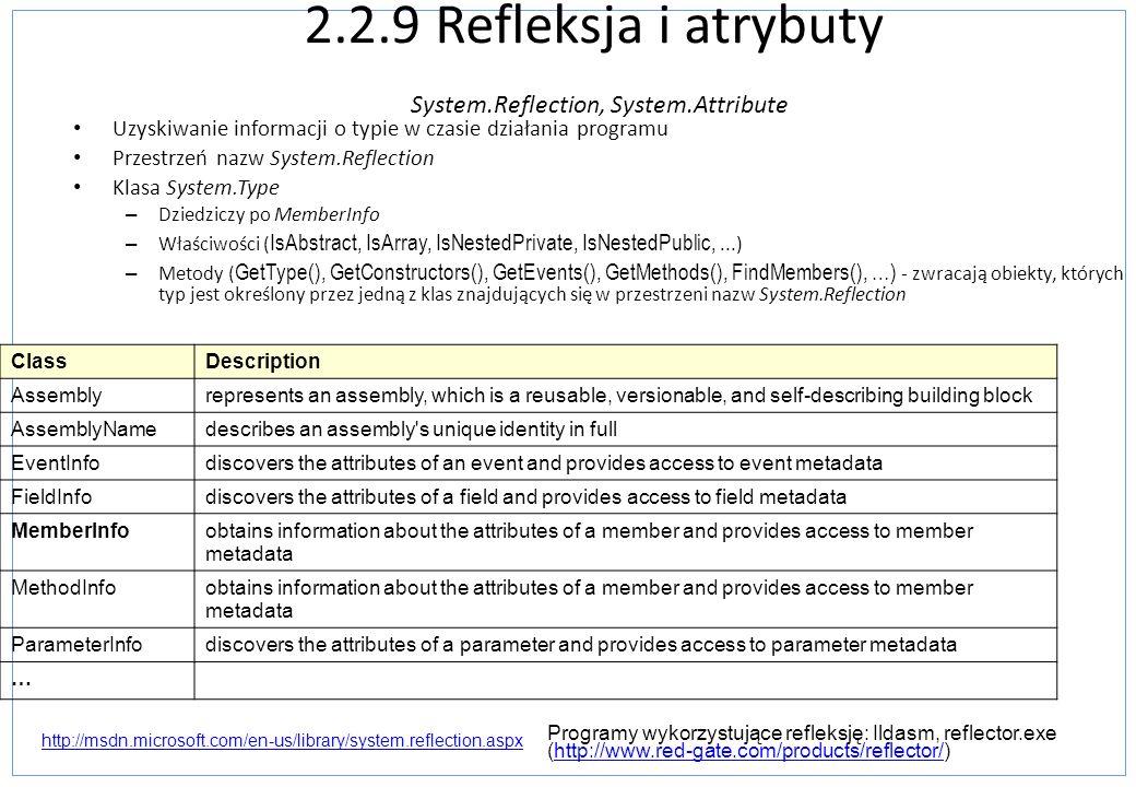 2.2.9 Refleksja i atrybuty System.Reflection, System.Attribute Uzyskiwanie informacji o typie w czasie działania programu Przestrzeń nazw System.Refle