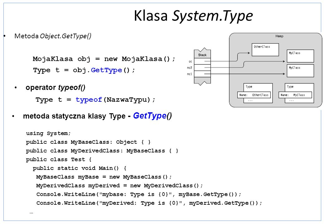 Klasa System.Type Metoda Object.GetType() MojaKlasa obj = new MojaKlasa(); Type t = obj.GetType(); operator typeof() Type t = typeof(NazwaTypu); metod