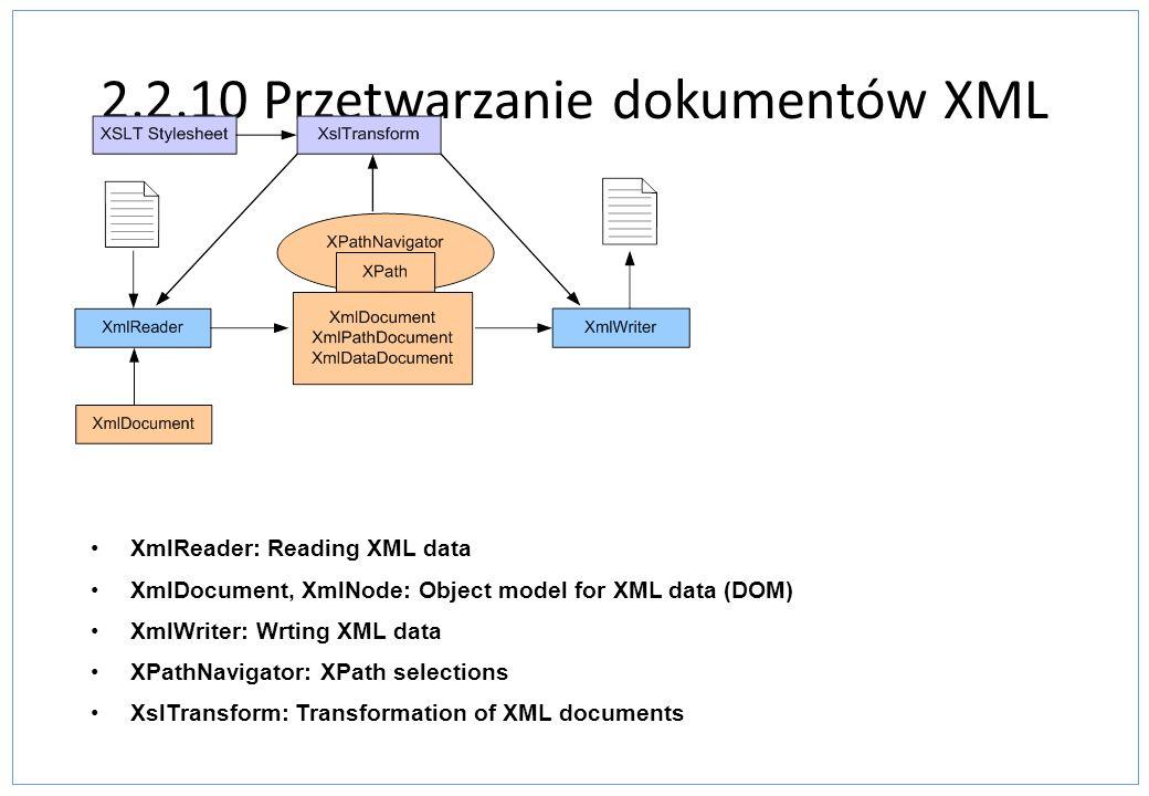 2.2.10 Przetwarzanie dokumentów XML XmlReader: Reading XML data XmlDocument, XmlNode: Object model for XML data (DOM) XmlWriter: Wrting XML data XPath