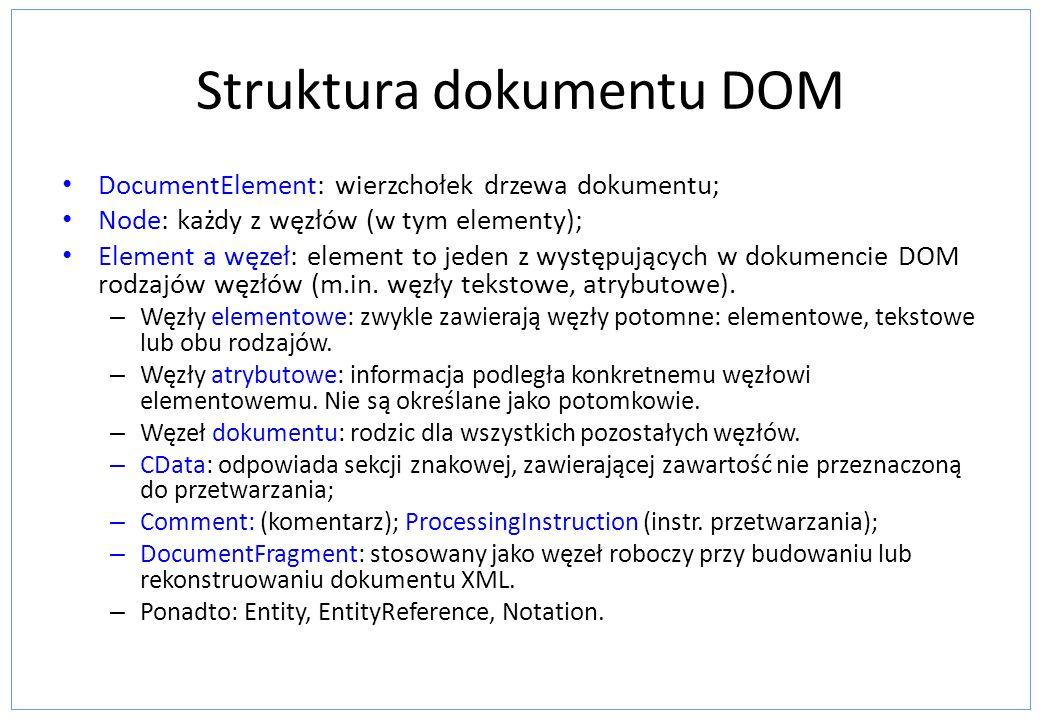 Struktura dokumentu DOM DocumentElement: wierzchołek drzewa dokumentu; Node: każdy z węzłów (w tym elementy); Element a węzeł: element to jeden z wyst