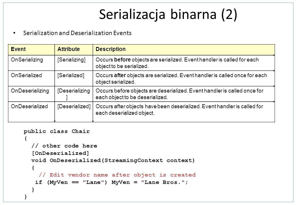 Serializacja binarna (2) Serialization and Deserialization Events EventAttributeDescription OnSerializing[Serializing]Occurs before objects are serialized.