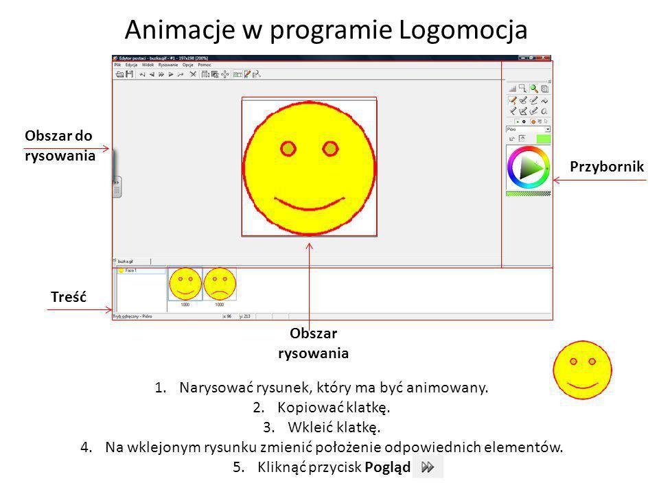 Animacje w programie Logomocja Treść Obszar do rysowania Obszar rysowania Przybornik 1.Narysować rysunek, który ma być animowany. 2.Kopiować klatkę. 3