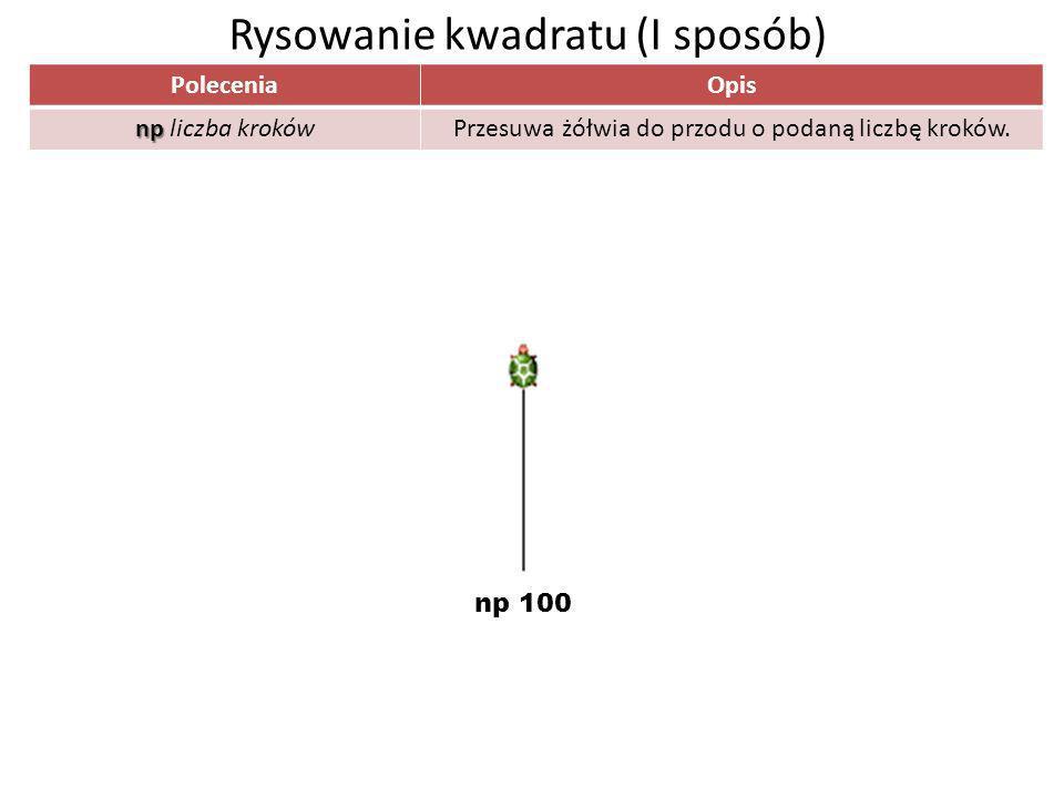 PoleceniaOpis np np liczba krokówPrzesuwa żółwia do przodu o podaną liczbę kroków. Rysowanie kwadratu (I sposób) np 100