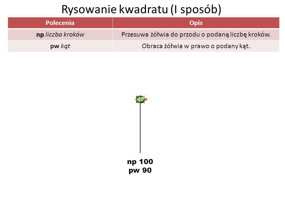 PoleceniaOpis np np liczba krokówPrzesuwa żółwia do przodu o podaną liczbę kroków. pw kątObraca żółwia w prawo o podany kąt. Rysowanie kwadratu (I spo