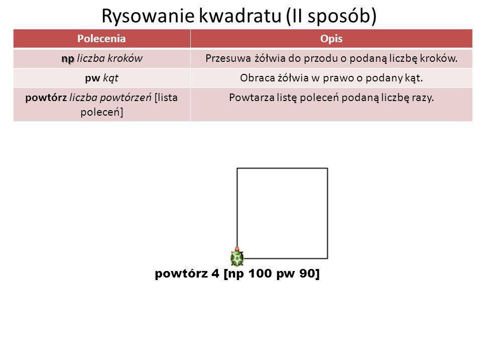 Rysowanie kwadratu (II sposób) PoleceniaOpis np np liczba krokówPrzesuwa żółwia do przodu o podaną liczbę kroków. pw kątObraca żółwia w prawo o podany