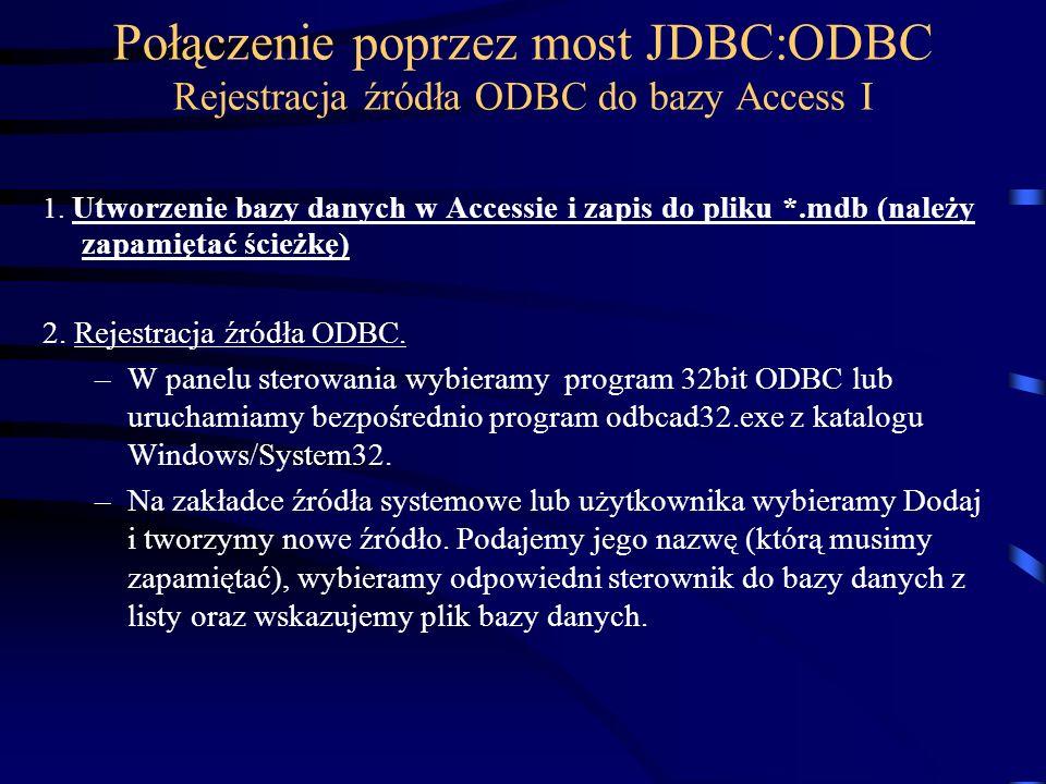 Połączenie poprzez most JDBC:ODBC Rejestracja źródła ODBC do bazy Access I 1.