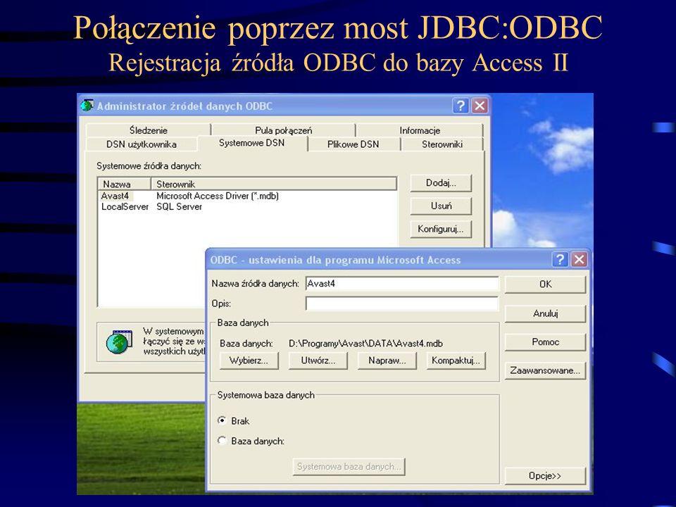 Połączenie poprzez most JDBC:ODBC Rejestracja źródła ODBC do bazy Access II