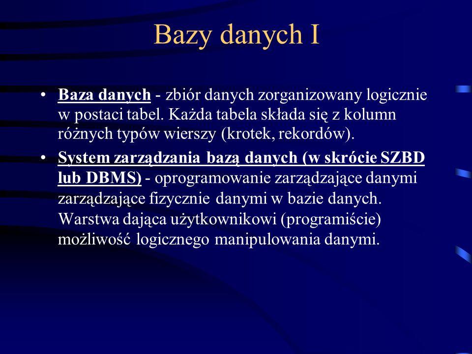 Bazy danych I Baza danych - zbiór danych zorganizowany logicznie w postaci tabel.