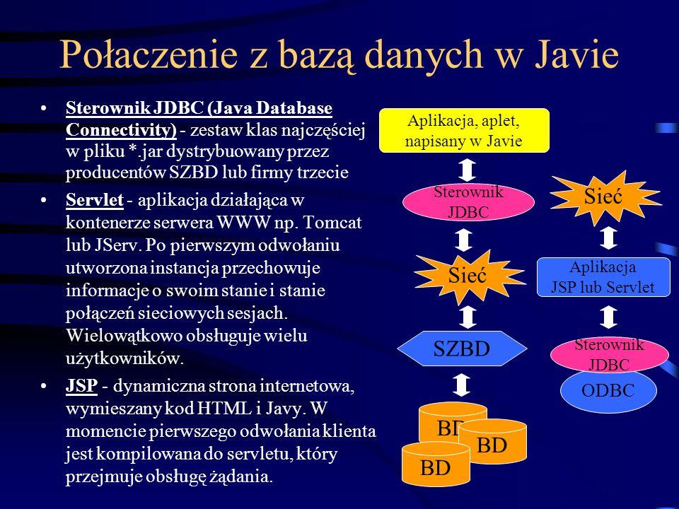 Połaczenie z bazą danych w Javie Sterownik JDBC (Java Database Connectivity) - zestaw klas najczęściej w pliku *.jar dystrybuowany przez producentów SZBD lub firmy trzecie Servlet - aplikacja działająca w kontenerze serwera WWW np.