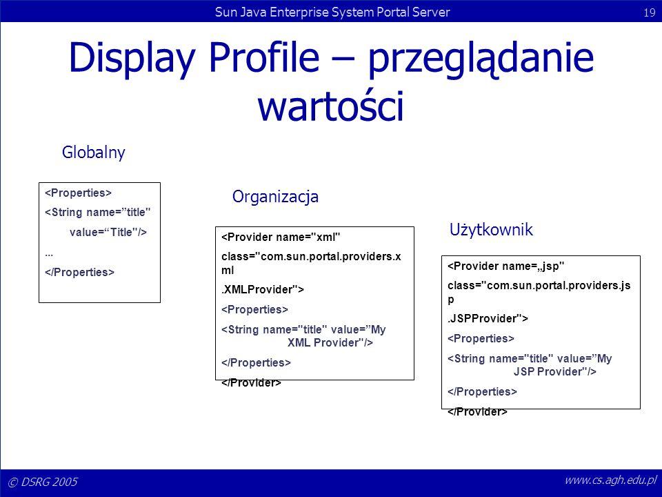 © DSRG 2005 Sun Java Enterprise System Portal Server 19 www.cs.agh.edu.pl Display Profile – przeglądanie wartości Globalny Organizacja Użytkownik <Str